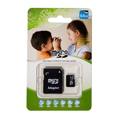 Picture of 64GB Micro SD High-Speed Certified Flash Card with Adapter