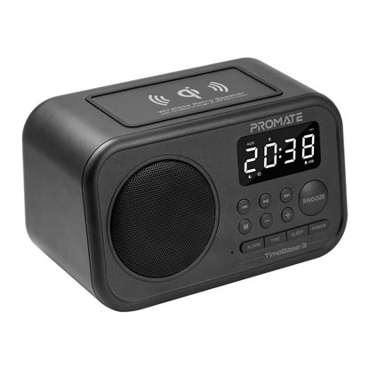 Picture of PROMATE Wireless Retro Speaker with Qi Wireless Charger & LED Alarm
