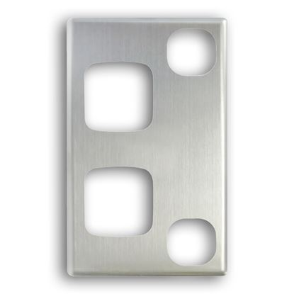Picture of TRADESAVE Powerpoint Cover Plate Single, Vertical, Silver Aluminium.