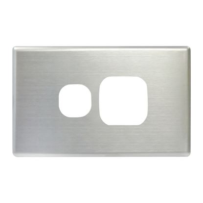 Picture of TRADESAVE Powerpoint Cover Plate Single, Silver Aluminium.