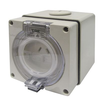Picture of TRADESAVE Weatherproof Socket, 3 Pin 15A, Flat, IP66, Stainless