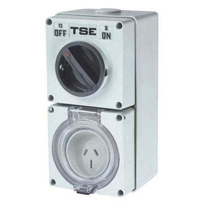 Picture of TRADESAVE Switched Outlet 3 Pin 15A Flat, IP66, Stainless
