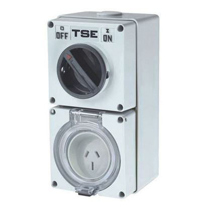 Picture of TRADESAVE Switched Outlet 3 Pin 10A Flat, IP66, Stainless