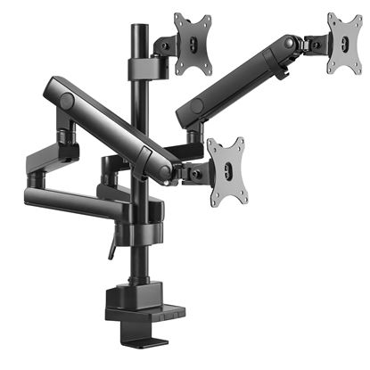 """Picture of BRATECK 17""""-27"""" Triple Monitors Spring-Assisted Desk Mount Bracket."""