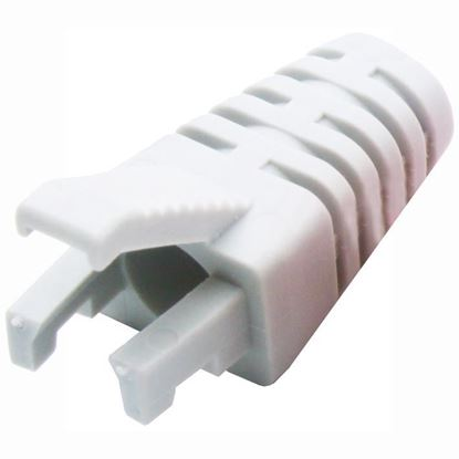 Picture of DYNAMIX WHITE RJ45 Strain Relief Boot - Slimline with Clip Protector